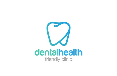 dent: Health Dent Logo design vector template linear style.  Dental clinic Logotype concept icon.