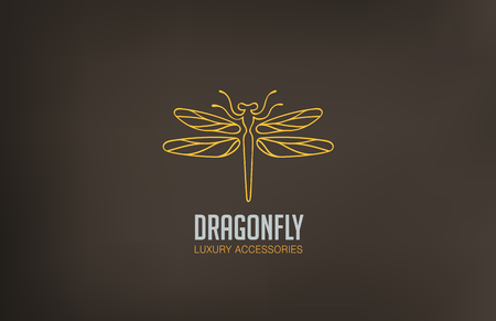 Dragonfly Logo design vector template linear style.  Luxury Logotype concept icon.