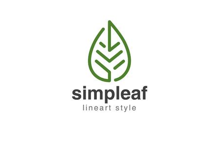 Estratto Logo design template stile lineare Foglia.