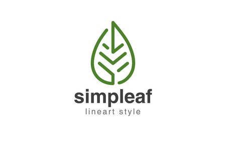 Abstract Leaf Logo design vector template linear style. Illustration