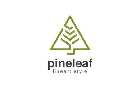 Christmas Tree Logo design vector template linear style.