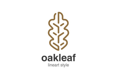 Oak Leaf Logo design vector template linear style. Çizim