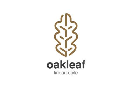 Oak Leaf Logo design vector template linear style. Stock Illustratie