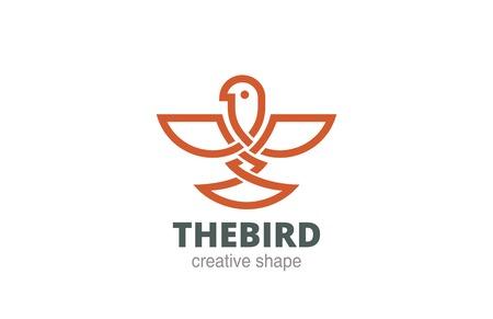 bird  celtic: Celtic Abstract Bird Logo design vector template linear style.  Eagle, falcon, hawk Logotype concept luxury icon.