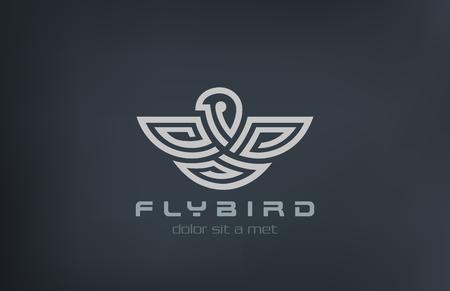 labirinth: Abstract Bird Logo design vector template linear labyrinth style.  Eagle, falcon, hawk Logotype concept maze symbol icon.