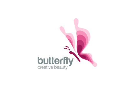 Butterfly Logo Fashion Beauty Salon design vector template.  Creative symbol Flying elegant Logotype concept icon.