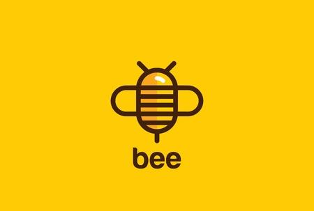 蜂のロゴの設計はベクトル テンプレート直線的な幾何学的なスタイルです。  バグ ロゴタイプ概念創造的なアイコン。