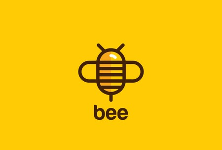 Bee Logo design vector template linear geometric style.  Bug Logotype concept creative icon.