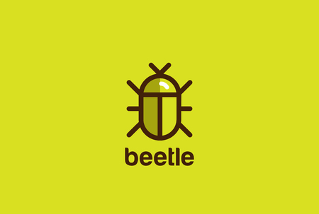 Beetle Logo design vector template linear geometric style.  Bug Logotype concept creative icon.