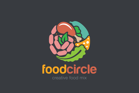 fresh food: Food set Gourmet Circle Logo Shop abstract design vector template.  Meat Bread Vegetables assortment Store Logotype concept icon.