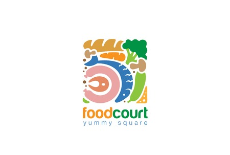 Eten set Gourmet plein Logo Shop abstract ontwerp vector template. Vis Brood Vlees Groenten assortiment Store Logotype concept pictogram.