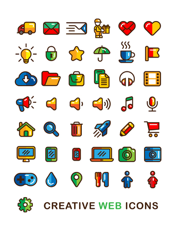 business symbols: Creative colorful Business Web Icons set Linear Flat outline style.  Delivery, Cloud, Shopping cart, Document, Mail, Star, Folder, Idea, Heart etc. ui design symbols.
