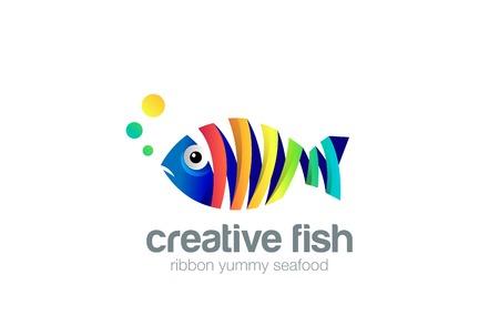 화려한 리본 물고기 추상적 인 로고 디자인 벡터 템플릿입니다. 크리 에이 티브 해산물 동물원 수족관 로고 개념 아이콘입니다.