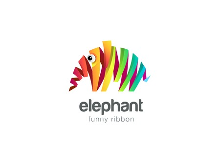 abstract animal: Funny colorful ribbon abstract Elephant Logo design vector template.  Zoo creative animal Logotype concept icon.