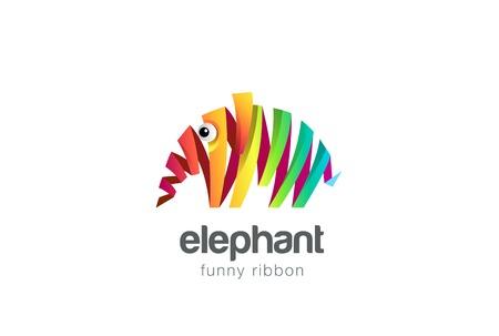 6a77453b6 Funny colorful ribbon abstract Elephant Logo design vector template. Zoo  creative animal Logotype concept icon