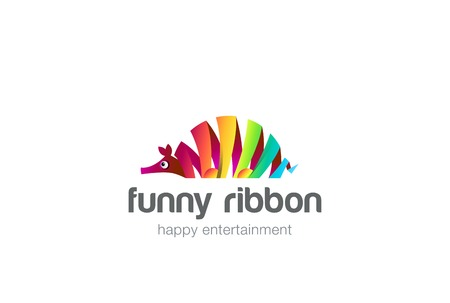brands: Funny colorful ribbon abstract ant-bear Logo design vector template.  Zoo creative animal Logotype concept icon.