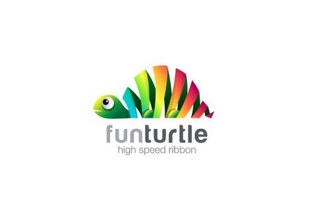Divertente nastro colorato astratto Turtle Logo modello di disegno vettoriale. Zoo creativo animale concetto di logo icona.