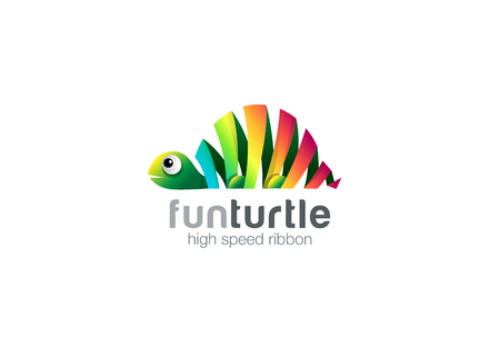 Funny colorful ribbon abstract Turtle Logo design vector template.  Zoo creative animal Logotype concept icon.