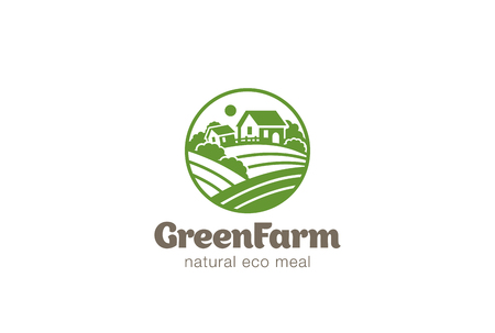Eco Green Farm Circle Logo design vector template.  Natural Organic food Logotype concept icon.