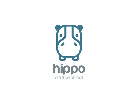 Funny Hippo Head Logo design vector template. Wild Safari Linear icon.