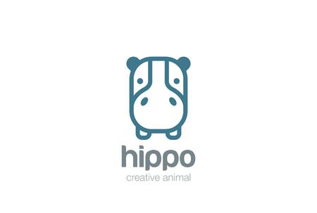 hippopotamus: Plantilla divertida del logotipo de diseño vectorial cabeza del hipopótamo. icono salvaje Safari lineal. concepto de estilo de logo lineas de animales hipopótamo. ilustración esbozado.