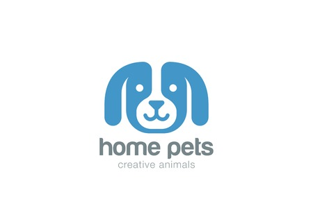 Funny Dog Logo design vector template negative space style. Puppy head icon. Home pets Logotype concept.