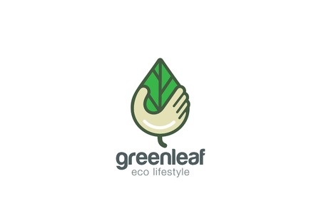 leaf logo: Hand holding Leaf Logo design vector template. Save Nature icon.  Eco Green Logotype concept icon. Illustration
