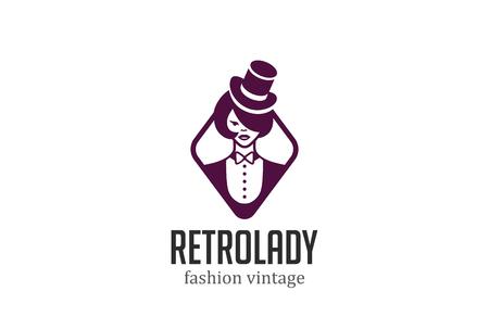 Schöne Frau Im Hut-Logo-Design-Vektor-Vorlage. Beauty Fashion Salon ...
