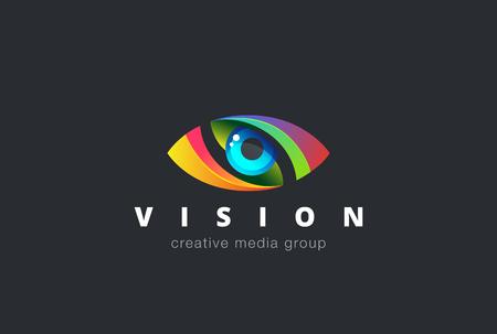 Logo ojo plantilla de diseño vectorial. icono del soporte colorido. Concepto creativo de Visión de logo.