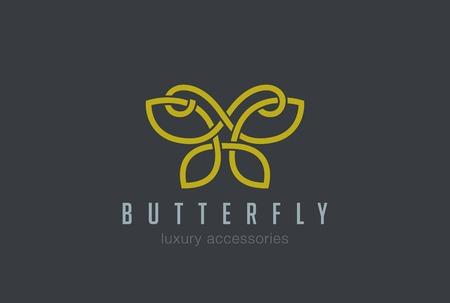 Farfalla gioielli logo disegno vettoriale modello di stile lineare. Accessori di lusso Logotype concetto delineata silhouette.