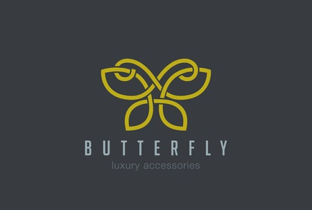 Butterfly Jewelry Logo design vector template linear style.  Luxury accessories Logotype concept outlined silhouette. Illustration