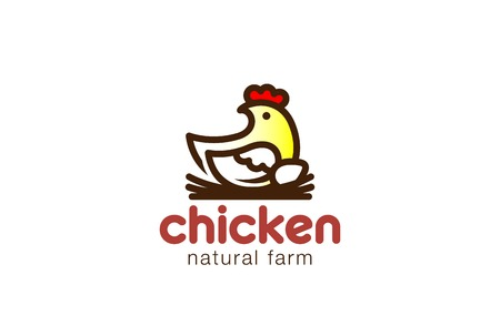 natural cock: Chicken sitting on Nest Logo design vector template.  Eco Natural Farm Logotype concept icon. Illustration