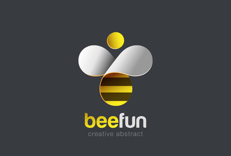 wings logos: Bee Logo design vector template. Hive icon.  Creative character Logotype concept