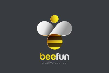 wings logos: Bee Logo design vector template. Hive icon.  Creative character Logotype concept