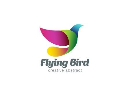 paloma caricatura: Volar plantilla de diseño vectorial del logotipo del pájaro abstracto. Dove colorido creativo del logotipo del icono.