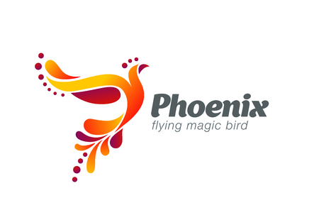 Magic Fairy Bird Abstract Logo design vector template.  Flying Phoenix creative Logotype icon. Illustration