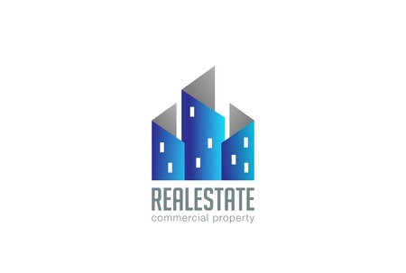 commercial property: Home Buildings Logo Real Estate design vector template.  Realty Commercial Property City Skyscrapers Logotype concept icon.