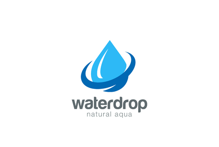 Waterdruppel Logo ontwerp vector template. Natural Mineral Aqua icoon. Waterdrop vloeibare olie Logotype concept pictogram. Stock Illustratie