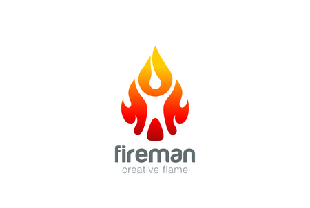 abstract fire: Abstract Man in Fire flame drop Logo design vector template.  Liquid fireball droplet burning Fireman Logotype concept icon.