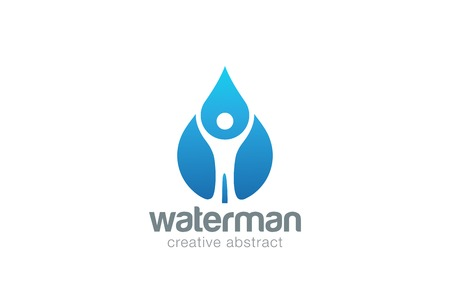 Mineral: Abstract Man in Water drop  design vector template. Liquid droplet clear natural mineral aqua  concept icon.