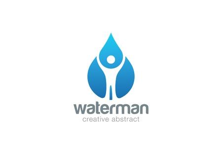 Résumé Man in Water drop template vecteur de conception. gouttelette liquide clair minérale naturelle concept aqua icône.