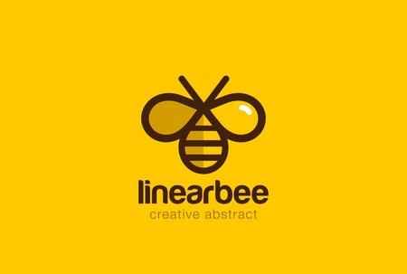 bee: Bee дизайн вектор шаблон линейном стиле. Outline значок. Творческая концепция Тяжелая работа Улья