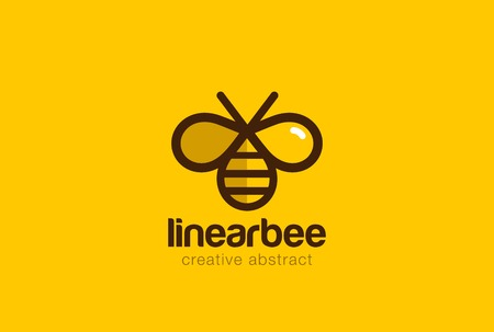 Bee  design vector template linear style. Outline icon. Creative Hard work Hive  concept Illustration