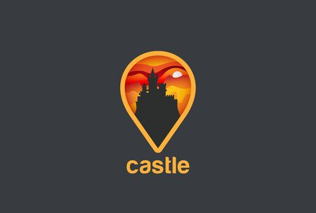 geo: Map Geo Locator Castle Logo design vector template.  Logotype concept navigation icon