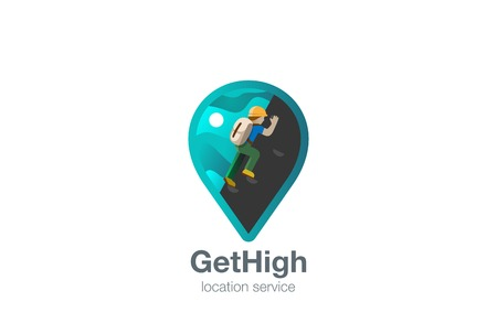 point: Map Geo Locator Logo design vector template.  Rock Climbing Logotype concept navigation icon