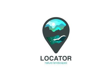 geo: Map Geo Locator Logo design vector template.  Mountain river Landscape Logotype concept navigation icon