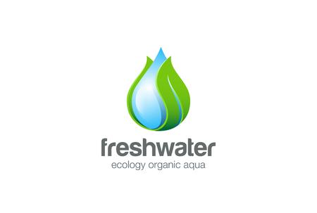 Eco gotas de agua de la hoja del logotipo plantilla vector. mineral natural clara la ecología de logo aqua agua. Icono verde del concepto de energía.