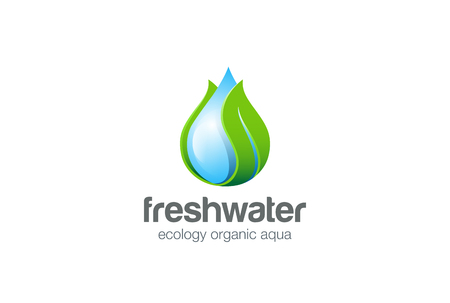 Eco Waterdrop leaf Logo design vector template.  Natural mineral clear ecology water aqua Logotype. Green Energy concept icon.
