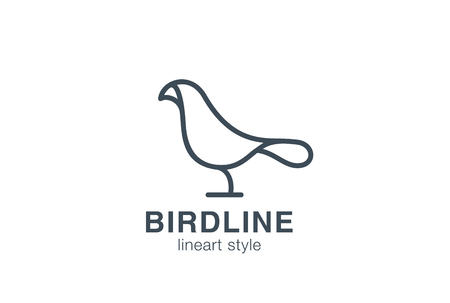bird flying: Abstract Bird Logo design vector template linear style.  Creative Dove Logotype business technology concept symbol outline icon.