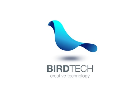 Abstract Bird Logo design vector template.  Creative Dove Logotype business technology concept symbol icon.